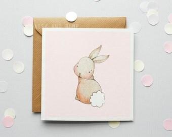 Rabbit, Children's Card, Birthday Party, New baby Girl, Bunny Rabbit Card, Pastel Pink Girl, Girl's Birthday, Greetings Card