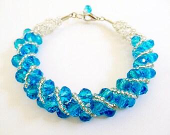 Aqua Crystalline Spiral Tube Bracelet