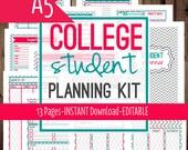 Filofax A5-Student Planner-College Student Planner-College Planner-School Planner-Filofax Insert-13 Sheets-Chevron-INSTANT & EDITABLE