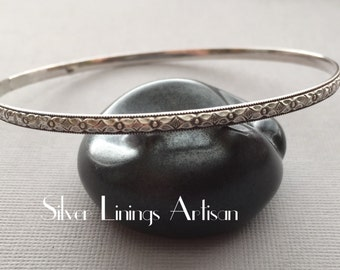 Stacking Bangle - Sterling Silver - Floral Design and Diamond Pattern - Handmade Bangle - Bracelet