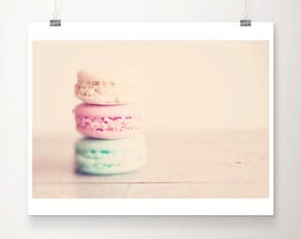 macaron photograph food photography french decor kitchen wall art macaron print paris photography mint wall art pastel pink decor