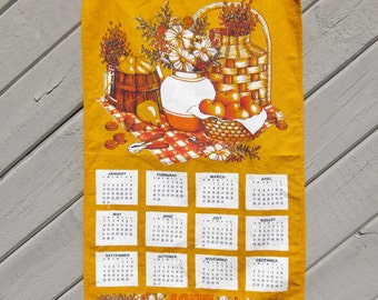 Linen Dish Towel Calendar 1977