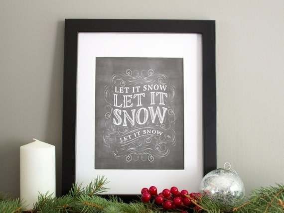 Winter Art Print, Holiday Artwork, Elegant Flourishes Hand Lettering, 8x10 Christmas Art Print - Let it Snow
