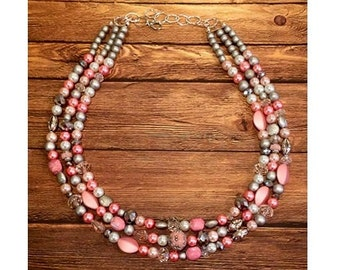Pink and Silver Sparkles Statement Necklace