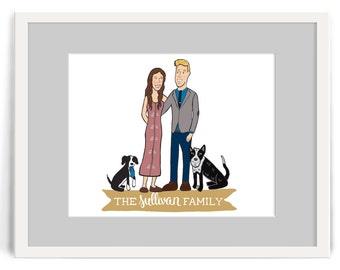 Illustrated Custom Portait of Couple // Hand Drawn Illustration of Couple // Wedding Gift , Housewarming Gift