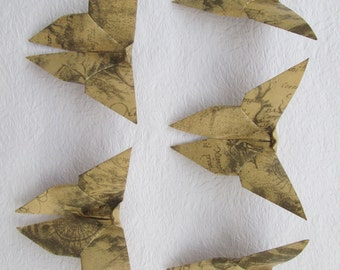 100 Paper Origami Butterflies, 5  x 5 inches (12.5 x 12.5 cm), Vintage Design, Grey Color , only for 14.00 USD