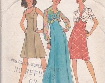 Simplicity 6761 Vintage Pattern Princess Seam Dress in 2 Lengths and Sleeve Variations  Size 10