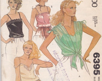 McCalls 6395 Vintage Pattern Womens Camisole in 3 Variations and Coverup Size 12 UNCUT