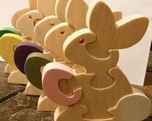 Easter Toys, Easter Bunny - Handmade Wooden Kids Toys, Easter Basket Toy - Easter Basket - Easter Toy Bunny,Easter Bunny,Easter Puzzle,Bunny