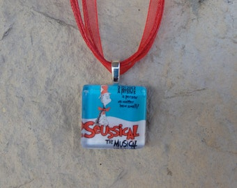 Broadway Seussical The Musical Glass Pendant and Ribbon Necklace