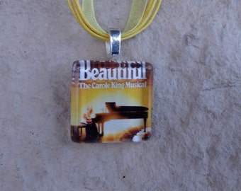 Broadway Musical Beautiful: The Carole King Musical Glass Pendant and Ribbon Necklace