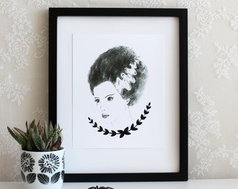 Bride of Frankenstein Halloween 5x7, 8x10, or 11x14 Wall Art Print, Poster, Drawing
