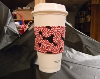 Peppermint candy coffee cozy