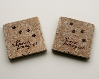 Rustic Stone Coaster, Brown cat, Travertine Tile coaster, Tumbled stone tile, Stocking stuffer, Cat gift