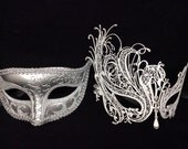 Lovers Men and Women Couples Venetian Design Masks - His (Silver) & Hers(white) Masquerade Masks