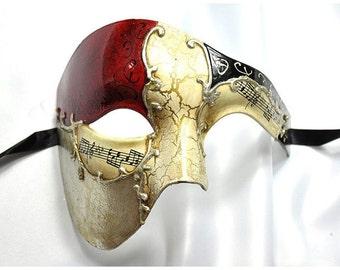 Phantom of the Opera Mask Musical Half Face Mask Men's Masquerade Mask Red Gold
