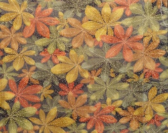SF1298 Vintage Japanese Screen Dyed Autumn Leaves on Silk Fabric (two pieces)