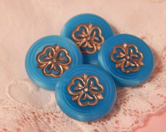 Aqua Satin Glass Buttons with an Incised Clover Enhanced with Gold Luster - 4