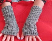 FISHERMAN KNIT Fingerless Gloves and Matching Boot Cuffs