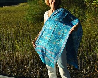 Feather weight Aqua Silk scarf shawl/ Blue silk scarf/ Silk shawl/ 80s