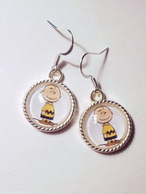 brown dangle earrings peanuts characters by