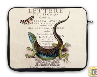 Lizard Reptile Antique Print iPad Case, Laptop Bag, Laptop Sleeve, Laptop Case, iPad Sleeve, MacBook Case, Tablet Case  - Lizard & Butterfly