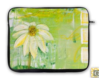 Daisy in Sun Green Yellow iPad Case, Laptop Bag, Laptop Sleeve, Laptop Case, iPad Sleeve, MacBook Case, Neoprene - Sunlit Daisy