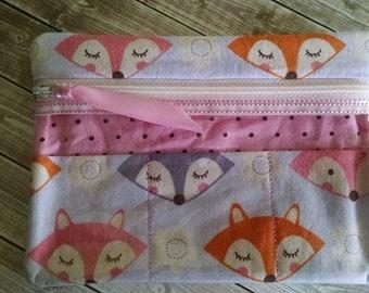 """Zippered Case,  Fox fabric, 4.75"""" x 6.5"""""""