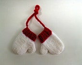 Christmas ornaments, christmas orniments, holiday decorations, mini mittens, hand knit mittens, red mittens, christmas tree, knit ornament