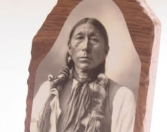 Native American Indian Photographic Portrait of Little Chief, Arapahoe, taken by Frank Rinehart in 1898 on 3 X 5 Inch wood  w/standard.