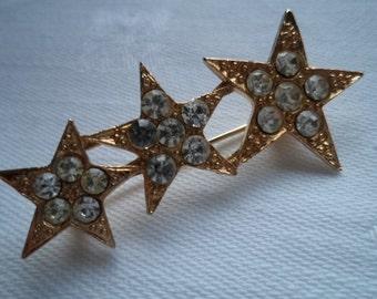 Vintage Unsigned Goldtone/Rhinestone Shooting Stars Brooch/Pin