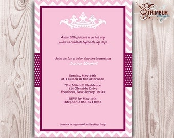 CHEVRON PRINCESS Girl Baby Shower Invitation/  Pink Chevron and dots with crown and elegant details: Sent as Digital pdf File