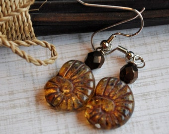 Ammonite Fossil Earrings with metallic brown beads