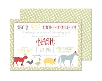 Petting Zoo Farm Birthday Party Invitation (farm party, gingham invite)