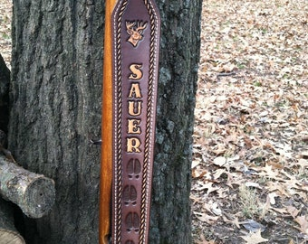 Custom personalized made leather gun sling with tracks