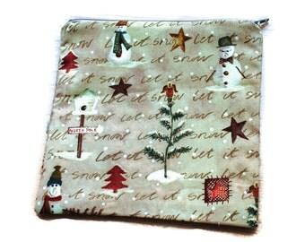 Reusable Sandwich Bag Snowmen Everygreen Trees Beige