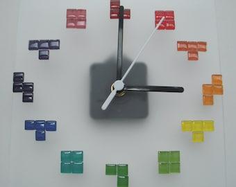 Rainbow Tetris tetriminos on clear frost acrylic wall clock
