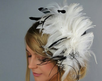 White Black Bridal Feather Fascinator Kentucky Derby Head Piece Vail Wedding Accessory Feathers Crystals