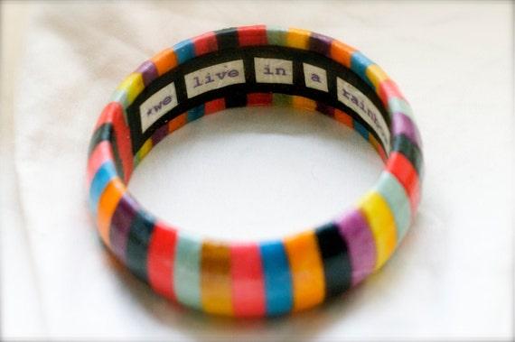 Rainbow Bangle, Rainbow Bracelet, Customized Bracelet, Customized Jewelry, Custom Jewelry, Custom Bangle, Personalized Jewelry, Quote, Lyric