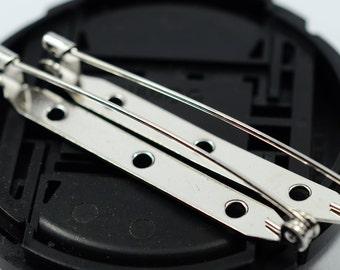 15 Pcs Silver Tone Brooch Pin Back 50mm Brooch Safety Pin