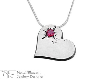 Heart ruby Pendant, Silver Heart Necklace, Sterling Heart Necklace, Ruby Heart Silver Pendant,Heart Necklace | Gift for her