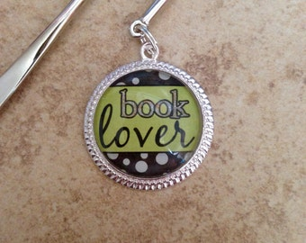 Book Lover polka dots bookmark