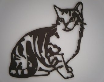 cat, wooden cut.