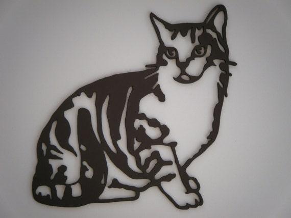 Chat silhouette en bois découpé et peint Chat par Decosilhouettes # Animaux En Bois Découpé
