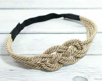 Natural Khaki Sailors Knot Satin Rope Headband with Stretch Elastic Back