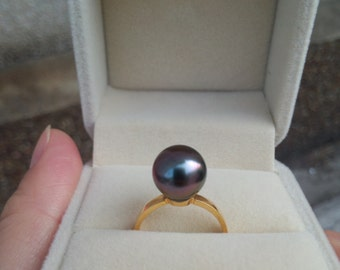18K gold genius tahitian pearl ring, 9.0 mm to 10.0 mm, AA+, round