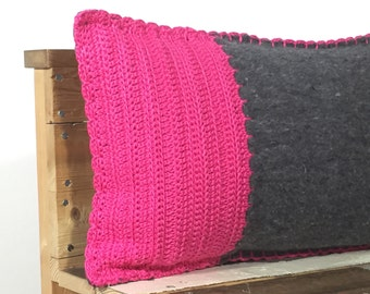 SALE, hot pink and grey pillow, moving blanket with crocheted front