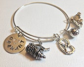 Germany Theme Adjustable Bangle, Alex and Ani Inspired, Travel, Vacation Charms, Gift for Her, Beer Stein, Soccer, VW, Pretzel, German Pride