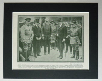 1919 Antique Military Print of General Pershing and English Dignitaries, Available Framed WWI Wall Art, First World War Gift, World War One