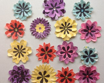 Pretty Die Cut Card Stock/Paper Layered Flowers - Multi-Colored